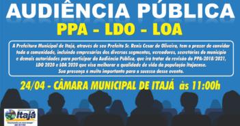 Convite Audiência Pública (PPA-LDO-LOA) em 24/04 na Câmara Municipal de Itajá