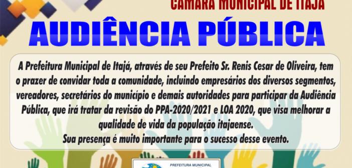 Audiência Pública sobre a Revisão do PPA 2020/2021 e LOA 2020